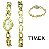 Timex UG0086 Ladies Watch Gift Box Set with Gold Bracelet