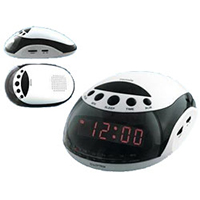 Black & White AM/FM Radio Alarm Clock