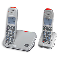 Amplicomms PowerTel 2702 Big Button Amplified Cordless DECT Phone Twin Set